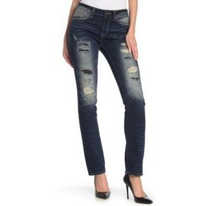 Rock Revival Mid-Rise Distressed Skinny Jeans 25